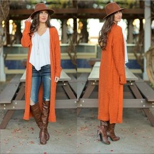 Rust soft long sleeve open front